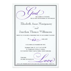 Christian Wedding Invitations Purple God Is Love Christian Wedding  Invitation