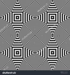 Geometric optical illusion raster seamless pattern with black and white stripes. Digitally generated abstract optical illusion with effect of shimmering and volume.