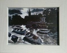 Ink landscape, Sligo Calry church tower For more details see my etsy shop (link below)