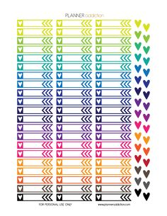 Free Printable Planner Stickers - Heart Flags - Large Happy Planner