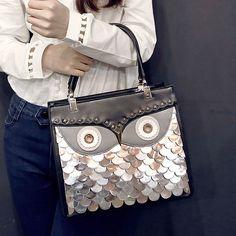 Sacos de mulheres mensageiro coruja bolsa rebite bolsa de ombro cross - corpo(China (Mainland))