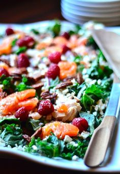 Healthy Chicken, Orange and Kale Salad at ReluctantEntertainer.com