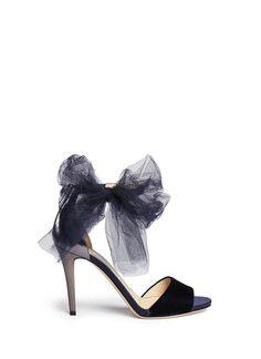JIMMY CHOO 'Lilyth 100' tulle bow velvet sandals