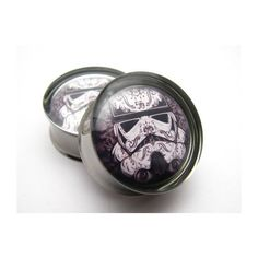 Stormtrooper star wars Plugs 0g, 00g, 7/16, 1/2, 9/16, 5/8, 3/4, 7/8, 1 inch ($20) found on Polyvore