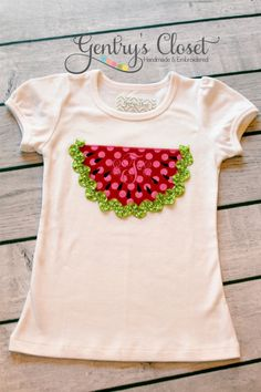 Summer watermelon shirt or onesie with ric rac and monogram. Pink and Red Watermelon Slice. Cute Summer Birthday shirt.