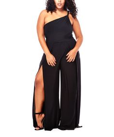 Another great find on #zulily! Black One-Shoulder Split-Leg Jumpsuit - Plus #zulilyfinds