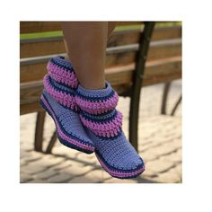 Crochet Boots Lilac Purple Stripes for the Home Slippers Women Boots. €50,00, via Etsy.