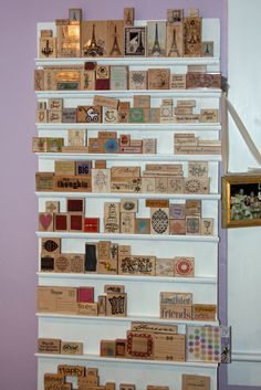 DIY wood stamp storage shelves