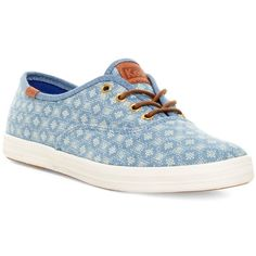 Keds Champion Diamond Dot Sneaker (4.325 ISK) ❤ liked on Polyvore featuring shoes, sneakers, blue, print shoes, patterned shoes, print sneakers, round toe shoes and lace up shoes