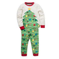 Buy John Lewis Christmas Tree Pyjamas, Green/Red Online at johnlewis.com