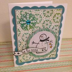 Recollections stamps from Michaels. Snowman on nestabilities die on Basic Grey papers. Handmade Christmas card.