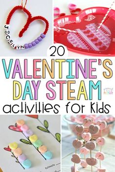 holiday activities 20 Valentines Day STEAM activities for kids, including valentine arts amp; crafts, sight word and candy heart activities, hands-on math and science experiments, and learning ideas for February. My Funny Valentine, Science Valentines, Valentine Theme, Science Activities For Kids, Valentines Day Activities, Math For Kids, Valentines Day Party, Holiday Activities, Valentine Day Crafts