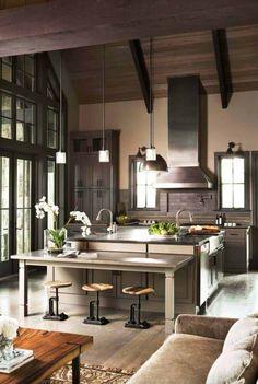Tour an elegant home designed for green living in Blue Ridge Mountains Modern Kitchen Cabinets, Modern Kitchen Design, Modern House Design, Island Kitchen, Küchen Design, Home Design, Layout Design, Design Ideas, Interior Design