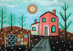2 Quilts 5x7inch ORIGINAL Canvas Panel PAINTING House Sun FOLK ART Karla Gerard #FolkArtAbstractPrimitiveLandscape