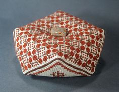 Cross Stitch Art Nouveau Geometric Pattern Biscornu, Cross Stitch Pincushion…