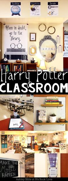 Harry Potter Classroom Inspiration, Harry Potter posters, Harry Potter decorations - New Deko Sites Harry Potter Library, Harry Potter Classes, Décoration Harry Potter, Harry Potter Classroom, Harry Potter Poster, Harry Potter Display, New Classroom, Classroom Design, Classroom Themes