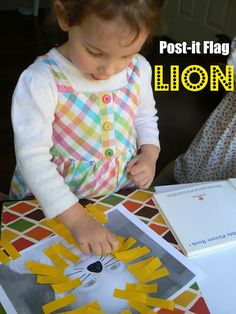 flag lion, party games, flags, toddler crafts, postit flag, children pictures, lions, preschool, toddler activities