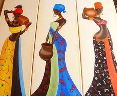 cuadros tripticos polípticos mujeres africanas modernos