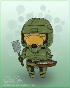 Today's Photo of the Day from deviantART user eiichi-mai features a drawing of Master Chief all chibi-ed out and looking ever so precious cooking breakfast. It's definitely not the same mood as when you play Halo, but I kind of like this homemaker side to him, even if it is unrealistic...but he has to eat, right?