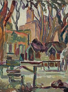"terminusantequem: ""Duncan Grant (British, 'Jack Straw's Castle', Hampstead (before The Blitz), Oil on canvas, 47 x 33 cm "" Duncan Grant, John Duncan, Vanessa Bell, Virginia Woolf, Hampstead Village, Bloomsbury Group, The Blitz, Art Uk, Your Paintings"