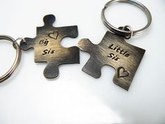 Set of TWO Big Sis Little Sis Personalized Puzzle by StampedWorld, $15.00