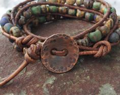 triple wrap leather bracelet/matte aged czech glass beads/soft distressed leather/pure copper lucky penny/made with love and good energy! Dreifach-Wrap Leder Armband/Matt Alter Glas beunruhigt The… Leather Jewelry, Leather Cord, Boho Jewelry, Jewelry Crafts, Beaded Jewelry, Jewelry Bracelets, Handmade Jewelry, Jewelry Design, Brown Leather