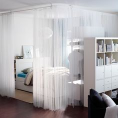 7 Astounding Tips: Room Divider Repurpose Apartment Therapy room divider wardrobe master bedrooms.Folding Room Divider Small Spaces room divider with tv living spaces.Room Divider With Tv Storage. Ikea Room Divider, Small Room Divider, Living Room Divider, Hanging Room Dividers, Room Divider Curtain, Living Room Decor, Dining Room, Living Spaces, Ikea Bedroom