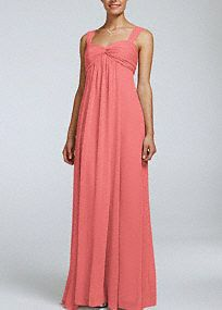 A long soft silhouette translates to a truly elegant look that your bridesmaids will absolutely love!  Sleeveless bodice with cap sleeves features sweetheart neckline with ruched twist front detail.  Floor length soft crinkle chiffon& easily & flows& and gives this dress an ethereal feel.  Fully lined. Back zip. Imported Polyester. Dry clean only.