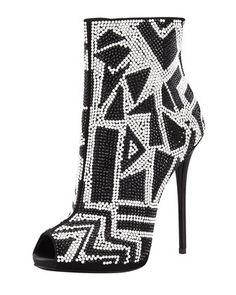 Crystallized+Peep-Toe+Bootie,+Black/White+by+Giuseppe+Zanotti+at+Bergdorf+Goodman.