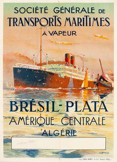 Sebille, Albert, A Vapeur Bresil-Plata Algerie - Societe Generale de Transports Maritimes (1920 ca.)