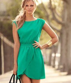 HM: Green Chiffon Dress with Boat Neck and Wraparound Hem.