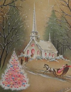 332 50s Glittered Church IN THE Night Vintage Christmas Greeting Card | eBay: