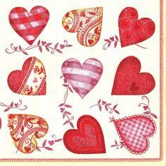 2 Decoupage Paper Napkins Serviette Vintage Hearts 33x33 cm. 2 pcs #66 in Collectibles | eBay