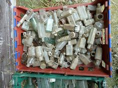 Wow.. this Person is offering £10.50 for a crate full of old bottles. Theyve been recently dug up from the grounds of a glass factory... Sooo I've emailed her to see if we can choose some and put them in a crate ourselves to get the right colours etc... Who knows!! if so i can go pick it up sunday!? and clean them up of course! what do we think :) xx