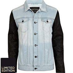Light Wash Denim Jacket With Leather Sleeves