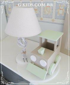 Kit higiene, decoração quarto bebê,quarto para meninos,REF - 1086                                                                                                                              decoração quarto de bebê, abajour, abajour com trem,decoração quarto menino,trenzinho,