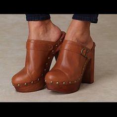 Jeffrey Campbell Tan Woodies Charlie Clogs Worn once Jeffrey Campbell clogs! Super cute great condition! Jeffrey Campbell Shoes Mules & Clogs