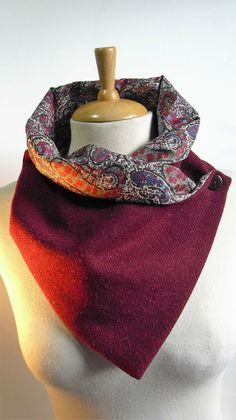 Tweed (Donegal Tweed) wool Neck warmer/Scarf/Snood,Liberty Tana Lawn lining.