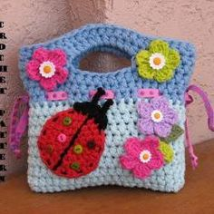 Girls Bag / Purse with Ladybug and Flowers , Crochet Pattern PDF,Easy, Great for Beginners, Pattern No. 17