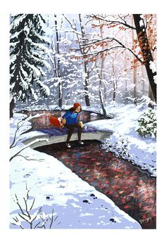Frozen Moment, an art print by Yaoyao Ma Van As Winter Illustration, Cute Illustration, Anime Art Girl, Aesthetic Art, Cartoon Art, Cute Art, Character Art, Fantasy Art, Concept Art