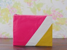 Large zipper pouch 6X8  geometry color block hot by Pamplemouss