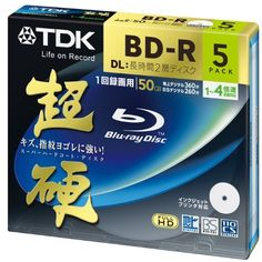 "TDK Blu-ray BD-R DL Disk | Super Hard Coating Surface 50GB Blueray 4x Speed 5 Pack by TDK. $28.89. Recording can be performed at high performance with high quality TDK discs. Unlike ""naked"" discs all TDK discs come with proprietary ""High Grade"" Hard Coat technology to protect your data against time, dust and scratches.. Save 59%!"
