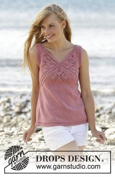 """Butterfly Heart Top - Knitted DROPS top with lace pattern and V-neck in """"Belle"""". Size: S - XXXL. - Free pattern by DROPS Design Sweater Knitting Patterns, Lace Knitting, Knitting Designs, Knit Patterns, Knit Crochet, Summer Knitting, Drops Design, Knitted Tank Top, Top Pattern"""