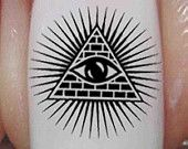 Free Shipping - 37 EYE of PROVIDENCE Nail Art (EPB)- All Seeing Eye/ Eye of Ra / Horus Pyramid Egyptian Waterslide Decals Not Stickers
