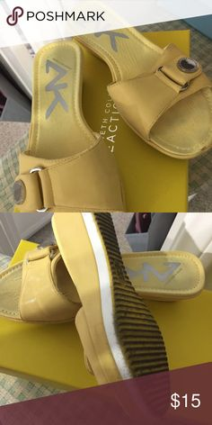 slides beautiful yellow 1.5 inch slides Anne Klein Shoes Slippers