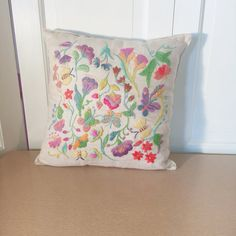 Vintage Crewel Embroidery Pillow Finished Botanical by gibsgoods