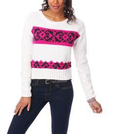 Fair Isle Boxy Crew Sweater - Aeropostale