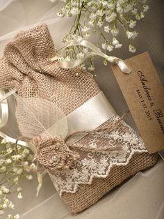 Natural Rustic Burlap Wedding Favor Bag Natural by DecorisWedding