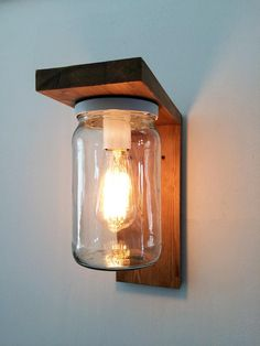 Lantern wood lamp for garden with jar lampshade.- Lantern Wood Lamp for garden with jar lampshade. Garden lamp made of wood and - Outdoor Hanging Lights, Outdoor Light Fixtures, Outdoor Lighting, Wall Sconce Lighting, Wall Sconces, Lantern Lighting, Glass Jars, Mason Jars, Lampe Decoration