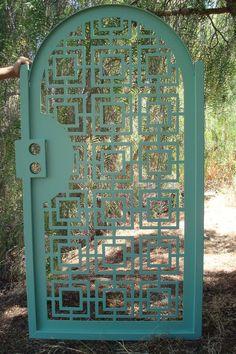 Details about Contemporary Metal Gate Iron Steel Ornamental Garden Art Entry Made in USA 3 x 6 - Modern Metal Garden Gates, Metal Gates, Metal Garden Art, Wrought Iron Gates, Wooden Garden, Metal Doors, Iron Doors, Tor Design, Gate Design